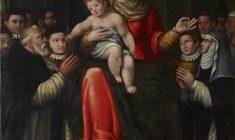 Madonna con il Bambino che porgono un rosario a una monaca e a un monaco barbato